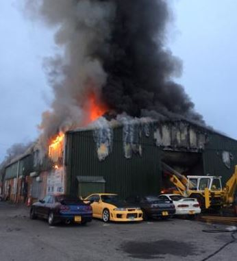 A fire in a car workshop at Towngate Works, Dark Lane, Mawdesley prompted a response of eight fire engines and crews (Chorley, Leyland, Tarleton, Bamber Bridge, Skelmersdale, Penwortham and two from Greater Manchester Fire Service) and crews in addition to the 'Stinger' appliance (based at...