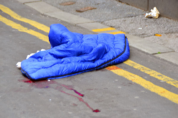 Waverley Street in Southport remains cordoned off this morning following a serious assault.    A large pool of blood can be seen on the pavement along with a sleeping bag.    The person who was assaulted was taken to hospital.    Officers are guarding the scene until scientific support arrive to...