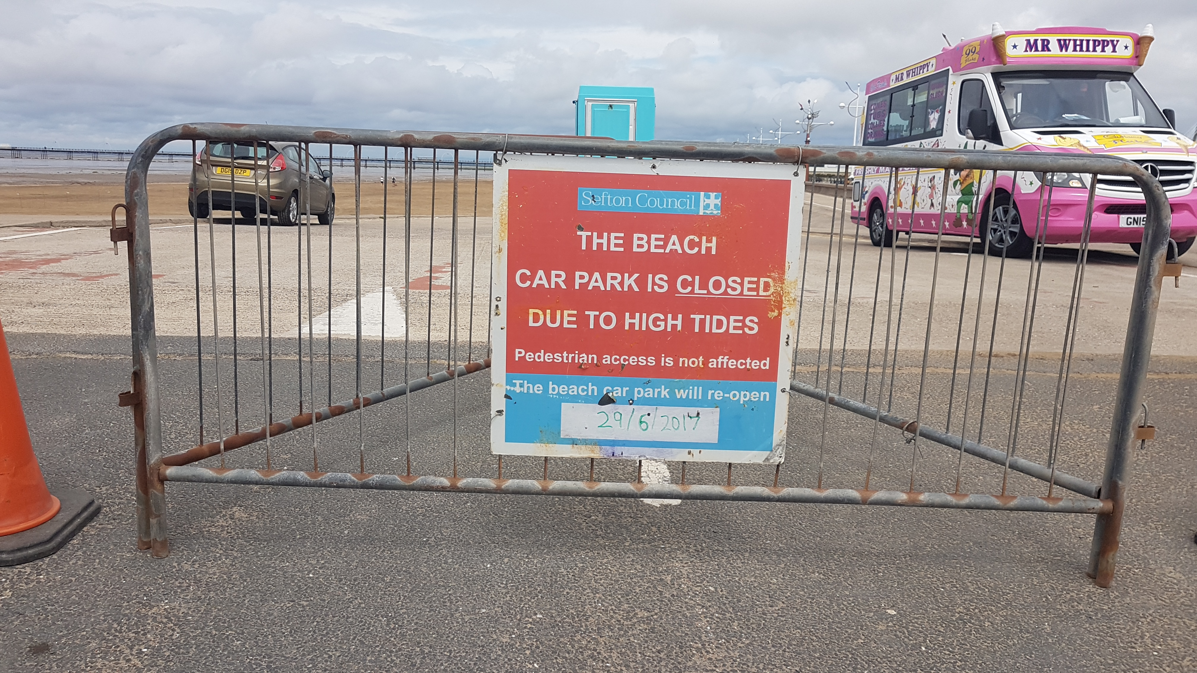 Southport's main beach will be closed to vehicles for one week until 29th June.This is due to high tides making parking impossible.