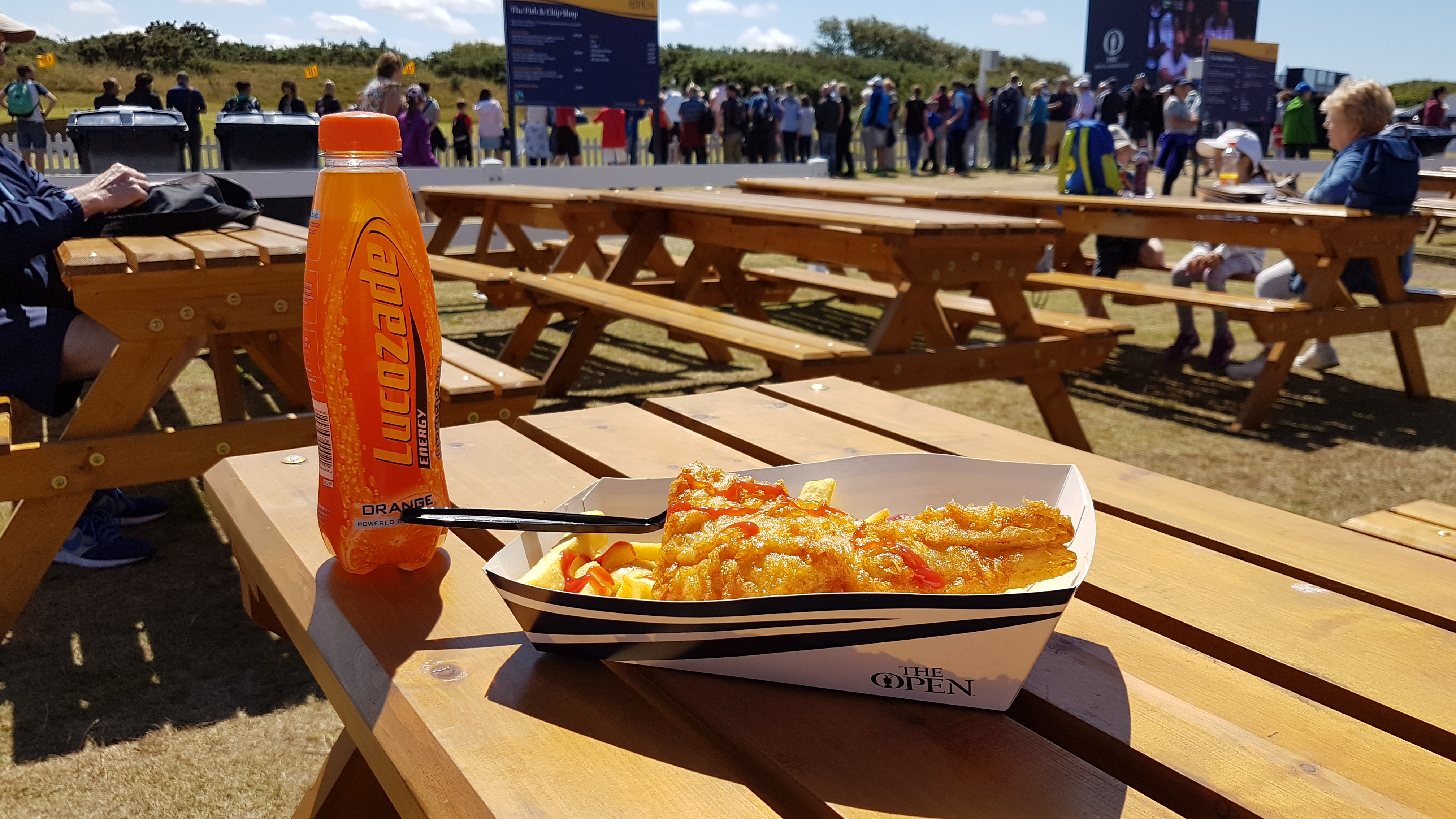 If you are going to The Open make sure you take a picnic with you unless you are prepared to pay vastly inflated prices for your food.    A small portion of fish and chips will set you back an eye watering £10 plus another £2 for a fizzy drink.    Pint of Stella was £5.50.    On the plus side...